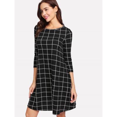 Flowy Grid Dress