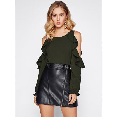 Olive Green Cold Shoulder Top