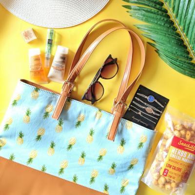 Pineapple - Tan Beach Bag