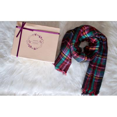 Plaid Print Frayed Scarf