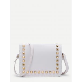 White Gold Studded Sling Bag