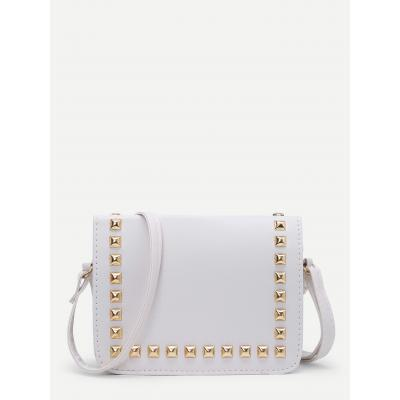 White Gold Studded Sling Bag